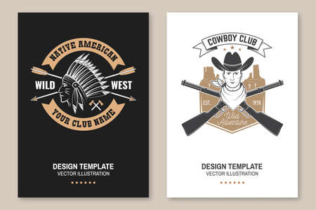 Cowboy club poster, flyer. Ranch rodeo. Vector. Concept for shirt,   print, stamp, tee with cowboy and shotgun. Vintage typography design with american canyon silhouette Zdjęcie Seryjne - 163227051
