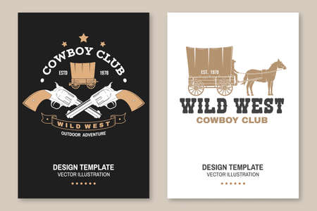 Cowboy club poster, flyer. Wild west. Concept for shirt, print, stamp, tee with cowboy and covered wagon. Vintage typography design with western wagon silhouette. Ilustracja