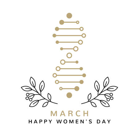Thin line minimalist design for international women day. 8th of march with number 8 in the form of a DNA strand isolated on the white background. Vector. Happy women day card