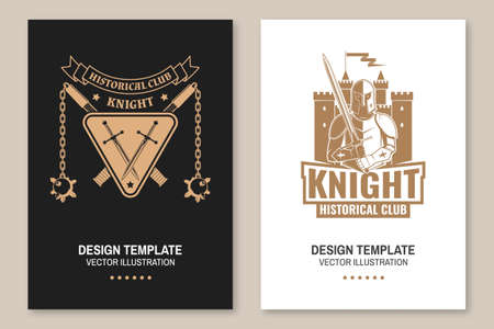 Medieval knight historical club flyer, brochure, banner, poster Vector Concept for shirt, print, stamp, overlay or template. Vintage typography design with battle axe, flail, knight and sword