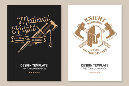 Medieval knight historical club flyer, brochure, banner, poster Vector Concept for shirt, print, stamp, overlay or template. Vintage typography design with battle axe, flail, knight helmet and sword Ilustracja