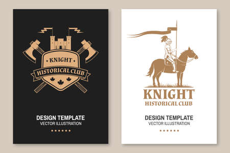 Knight historical club flyer, brochure, banner, poster. Vector Concept for shirt, print, stamp, overlay or template. Vintage design with medieval castle, knight on a horse and shield silhouette.