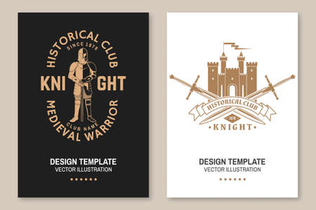 Knight historical club flyer, brochure, banner, poster. Vector Concept for shirt, print, stamp, overlay or template. Vintage typography design with medieval castle, knight and sword silhouette. Ilustracja