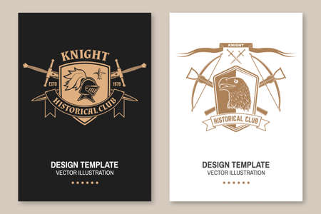 Knight historical club flyer, brochure, banner, poster Vector. Concept for shirt, print, stamp, overlay or template. Vintage design with knight helmet , crossbows , eagle and shield silhouette. Ilustracja