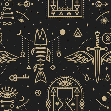 Gold esoteric seamless pattern, background. Vector Thin line geometric pattern. Outline texture for alchemy, sacred geometry. Mystic and magic design with dagger and wings, fish bone