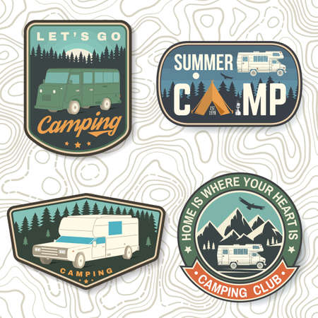 Set of Summer camp patches. Vector Concept for shirt or   print, stamp, patch or tee. Vintage typography design with rv trailer, camping tent, forest, mountain silhouette