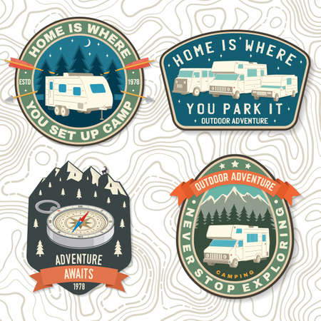 Set of Summer camp patches. Vector Concept for shirt or  print, stamp, patch or tee. Vintage typography design with rv trailer, camping tent, forest, mountain silhouette Ilustracja