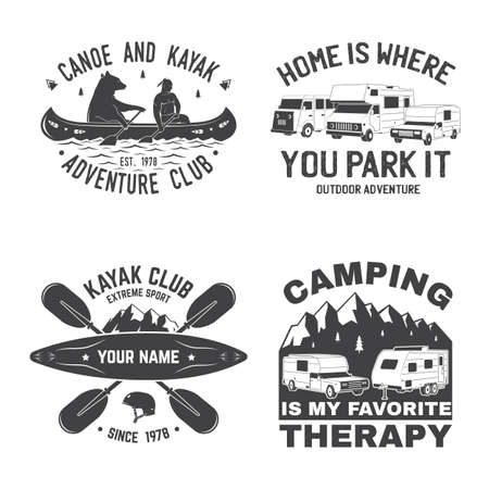 Set of Summer camp, canoe and kayak club badge.  Concept for shirt  print, stamp, patch. Vintage typography design with kayaker, camping tent, forest, mountain silhouette