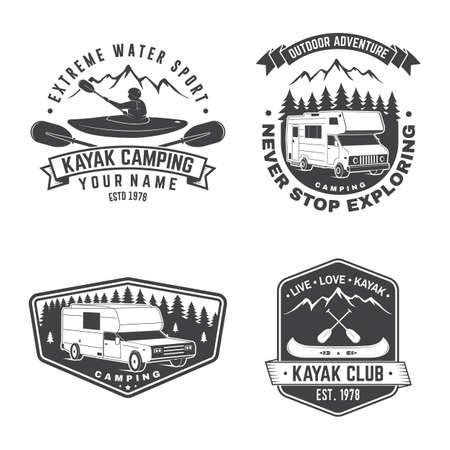 Set of Summer camp, canoe and kayak club badge. Ilustracja
