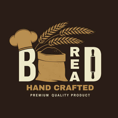 Hand crafted bread badge . Vector illustration Typography design with bag with flour, ears of wheat silhouette. Template for restaurant identity objects, packaging and menu Ilustracja