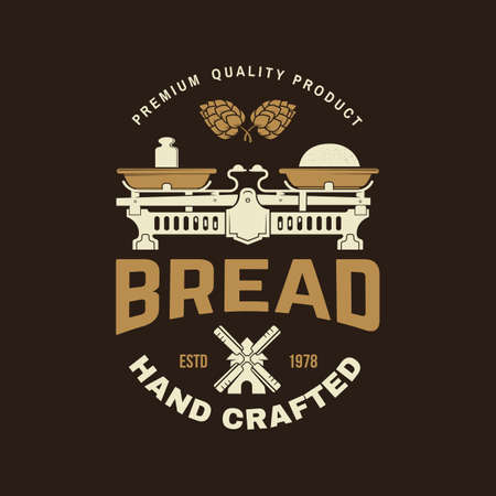 Hand crafted bread badge . Vector illustration Typography design with dough, hop and balance scale silhouette. Template for restaurant identity objects, packaging and menu