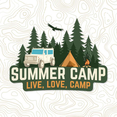 Summer camp. Live, love, camp patch. Concept for badge, shirt or  print, stamp, apparel or tee. Vintage typography design with rv trailer, camping tent, campfire and forest silhouette.
