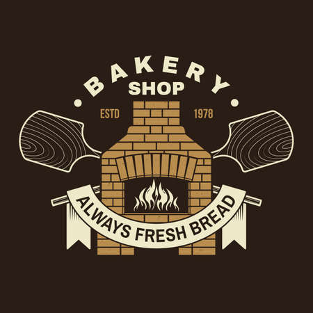 Handcrafted bakery shop badge. Vector illustration Typography design with old oven, wooden bread shovels silhouette. Template for restaurant identity objects, packaging and menu Ilustracja