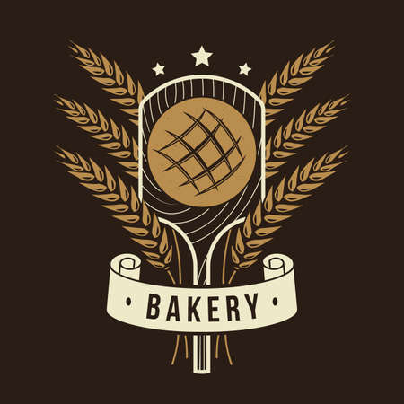 Bakery badge. Vector illustration Typography design with bread on the shovel, ears of wheat silhouette. Template for restaurant identity objects, packaging and menu