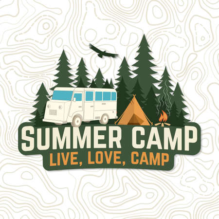 Summer camp. Live, love, camp patch. Vector