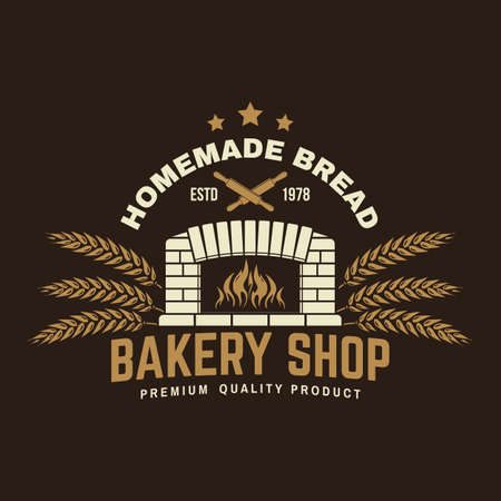 Bakery shop badge. Vector. Typography design with old oven, ears of wheat silhouette. Template for restaurant identity objects, packaging and menu
