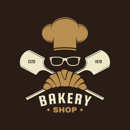 Bakery shop badge. Vector. Typography design with croissant, bread shovels, chef hat and ears of wheat silhouette. Template for restaurant identity objects, packaging and menu