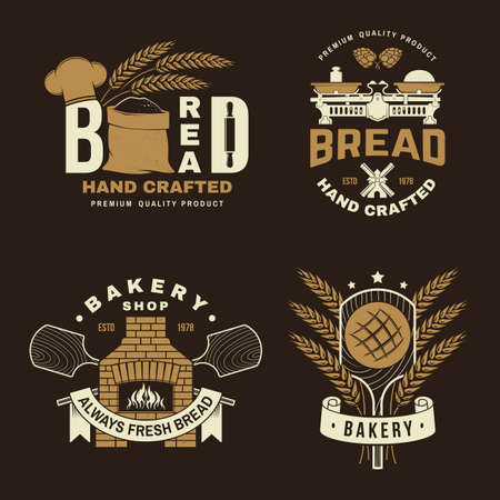 Bakery badge. Vector illustration Typography design with dough, oven, bread shovels, hop and balance scale silhouette. Template for restaurant identity objects, packaging and menu Ilustracja