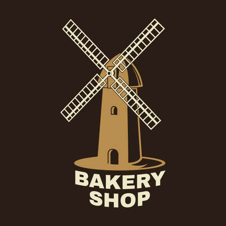Bakery shop. Vector. Concept for badge, shirt, label, stamp or tee. Typography design with windmill silhouette. Template for restaurant identity objects, packaging and menu Ilustracja