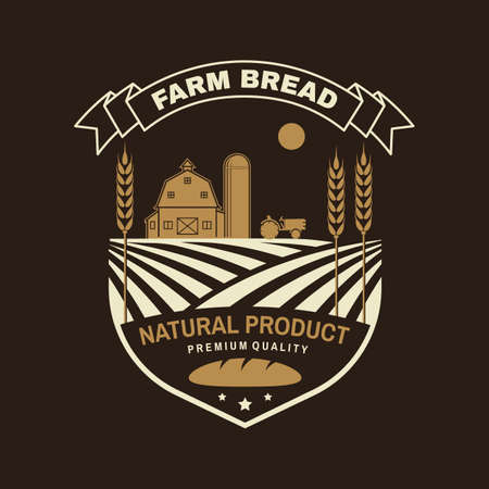 Farm bread bread badge. Vector illustration Typography design with farm, ears of wheat silhouette. Template for restaurant identity objects, packaging and menu Ilustracja