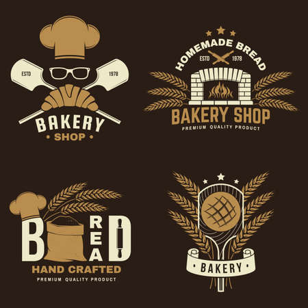 Bakery badge. Vector illustration Typography design with bag with flour, oven, bread shovels, hop and balance scale silhouette. Template for restaurant identity objects, packaging and menu