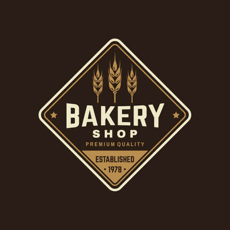 Bakery shop. Vector. Concept for badge, shirt, label, stamp or tee. Typography design with ears of wheat silhouette. Template for restaurant identity objects, packaging and menu