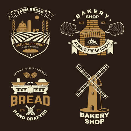 Set of bakery badge. Vector. Typography design with farm, ears of wheat, old oven, windmill silhouette. Template for restaurant identity objects, packaging and menu