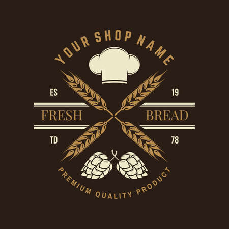 Hand crafted bread badge. Vector. Typography design with dough, hop and chef hat silhouette. Template for restaurant identity objects, packaging and menu