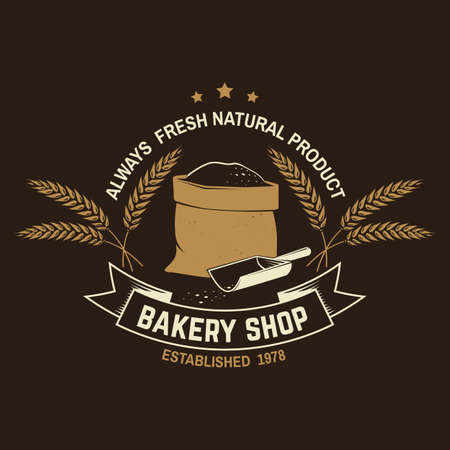 Bakery shop. Vector Concept for badge, shirt, label, print, stamp or tee. Typography design with bag with flour, ears of wheat silhouette. Template for restaurant identity objects, packaging and menu