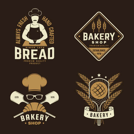 Set of bakery badge. Vector Concept for badge, shirt, label, print, stamp or tee. Typography design with man making dough silhouette. Template for restaurant identity objects, packaging and menu