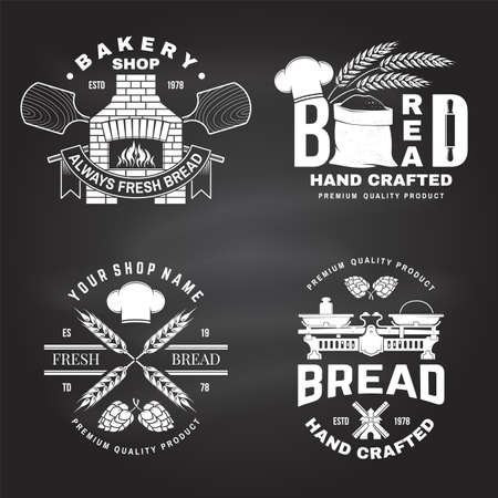 Set of bakery badge,  . Typography design with farm, ears of wheat, old oven, windmill silhouette. Template for restaurant identity objects, packaging and menu Ilustracja