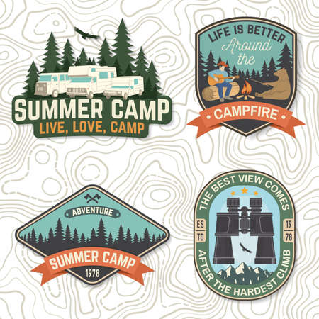 Set of Summer camp patches Vector Concept for shirt or  print, stamp, patch or tee. Vintage typography design with man, bear with marshmallow, campfire, camping tent, forest, mountain silhouette