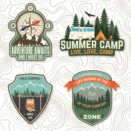 Set of camping badges, patches. Vector illustration. Concept for shirt or  print, stamp or tee. Vintage typography design with camping tent, forest and camper compass silhouette