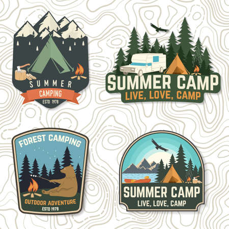 Set of Summer camp patches. Vector Concept for shirt or   print, stamp, patch or tee. Vintage typography design with bear with marshmallow, campfire, camping tent, forest, mountain silhouette Ilustracja
