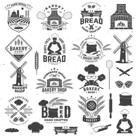 Set of Bakery shop badge. Vector Design with windmill, rolling pin, dough, wheat ears, old oven, wooden bread shovels silhouette. For restaurant, bakery identity objects, packaging menu