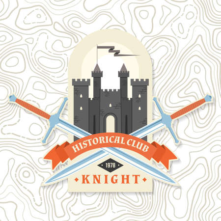 Knight historical club badge design. Vector illustration Concept for shirt, print, stamp, overlay or template. Vintage typography design with knight swords and castle silhouette. Ilustracja