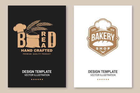 Hand crafted bread flyer, brochure, banner, poster. Vector illustration Typography design with bag with flour, ears of wheat silhouette. Template for restaurant identity objects, packaging and menu