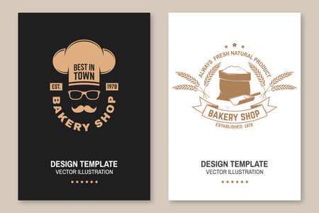 Bakery shop flyer, brochure, banner, poster. Vector. Typography design with bag with flour, ears of wheat silhouette. Template for restaurant identity objects, packaging and menu
