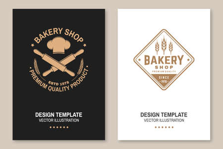 Bakery shop flyer, brochure, banner, poster. Vector. Typography design with chef hat, text, rolling pin silhouette. Template for restaurant identity objects, packaging and menu