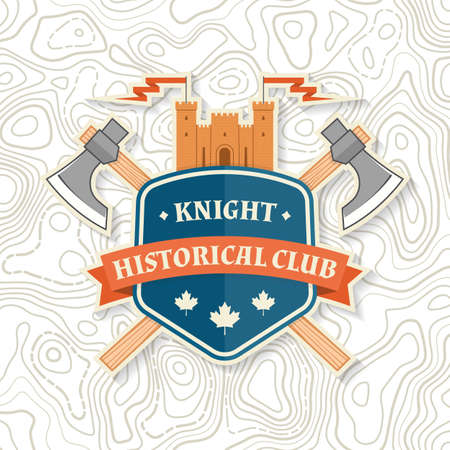 Knight historical club badge design. Vector illustration Concept for shirt, print, stamp, overlay or template. Vintage typography design with knight battle axe and shield silhouette.