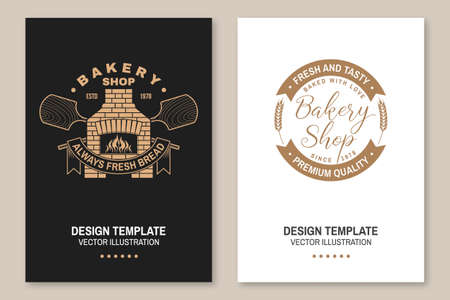 Handcrafted bakery shop flyer, brochure, banner, poster. Vector Typography design with old oven, wooden bread shovels silhouette. Template for bakery, restaurant identity objects, packaging and menu