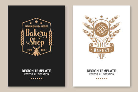 Bakery flyer, brochure, banner, poster. Vector. Typography design with bread on the shovel, ears of wheat silhouette. Template for bakery, restaurant identity objects, packaging and menu