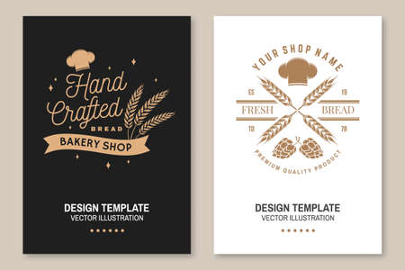 Hand crafted bread flyer, brochure, banner, poster. Vector. Typography design with dough, hop and chef hat silhouette. Template for bakery, restaurant identity objects, packaging and menu