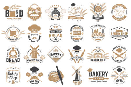 Set of Bakery shop badge. Vector. Design with windmill, rolling pin, dough, wheat ears, old oven, wooden bread shovels silhouette. For restaurant, bakery identity objects, packaging menu