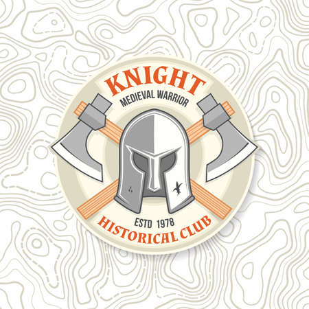 Knight historical club badge design. Vector illustration Concept for shirt, print, stamp, overlay or template. Vintage typography design with battle axe and knight helmet silhouette. Ilustracja