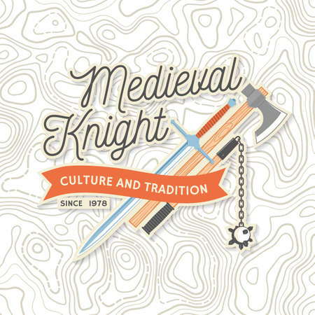 Knight historical club badge design. Vector Concept for shirt, print, stamp, overlay or template. Vintage typography design with knight battle axe, flail, and sword silhouette.