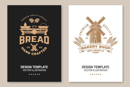 Hand crafted bread, bakery shop flyer, brochure, banner, poster. Vector Design with dough, hop and balance scale silhouette. Template for bakery, restaurant identity objects, packaging and menu Ilustracja
