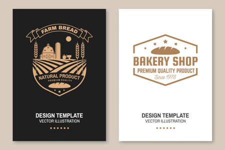 Farm bread, bakery shop flyer, brochure, banner, poster. Vector. Typography design with farm, ears of wheat silhouette. Template for bakery, restaurant identity objects packaging and menu Ilustracja