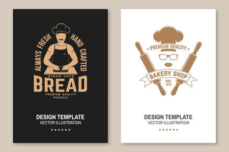 Fresh bread, bakery shop flyer, brochure, banner, poster. Vector. Typography design with man making dough silhouette. Template for bakery, restaurant identity objects, packaging and menu