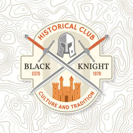 Black Knight historical club badge design. Vector illustration Concept for shirt, print, stamp, overlay or template. Vintage typography design with swords and castle silhouette.